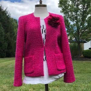 Wool blend J. Crew bright pink jacket